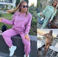Bayan Panelli Kapşonlu Eşofmanlar Bahar Sonbahar Rahat Kadın Mektup Baskılı Spor Seti Moda Bayanlar 2 adet Spor Seti
