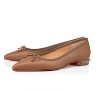 Marcas de luxo Femininas Bottom Red Ballet Flats Comfort Hall Pointed Toe Bow Lady Sole Sole Ballerinas Sapatos Festa, casamento EU35-43, com caixa