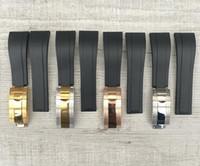 Sangle de 20mm Fit Nouveau Caoutchouc de montre Noir noir imperméable doux pour Rol Sub / GMT / YM Accessoires avec fermoir argenté