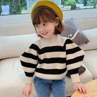 Новые дети мальчики свитера, маленькие девочки полосы свитера пуловер слойки рукав осенняя мода милая унисекс детская одежда 1-4T