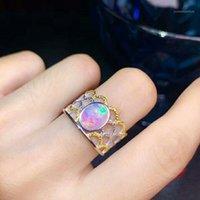 Bagues de cluster Meibapj 2.5 s Natural Opal Gemstone Fashion Pour Femmes Real 925 Sterling Silver Charm Fine Mariage Bijoux1