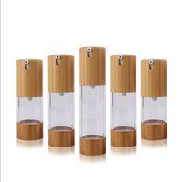 15 мл 30 мл 50 мл 0.5oz 1oz Безвоздывательные бутылки U-образные бамбуковые Push Type Вакуумная лосьон Бутылка Косметические пакеты