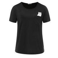Мода Смешные дешевые кошка женская карманная кошка футболки повседневная одежда с коротким рукавом футболка женское свободное подходит топы хип-хоп
