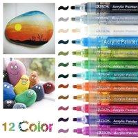 12 couleurs marqueur permanent marqueur acrylique marqueur de peinture acrylique pour bois de pneu en bois tissu en métal en plastique rond fine nib 2mm stylos à base d'eau 201116