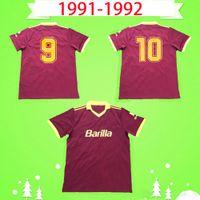1991 1992 Ретро Рома Футбол Джерси Главная Красивый 91 92 Футбольная Рубашка Рубашка Классический Коллекция Урожай Rome Maglia Da Calcio Mens