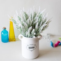 1 Bundle Romantik Provence Lavanta Düğün Dekoratif Çiçek Vazo Ev Dekor Için Yapay Çiçekler Tahıl Noel Sahte Bitki CCA3081