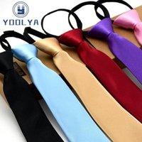 Предварительно завязанные галстуки шеи девушки мальчики малыша тощая молния галстуки детей красный сплошной цвет тонкий узкий жених женимирума вечеринка платье свадебные галстуки T200805
