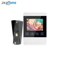 JEATONON 4 pouces HD LED Vidéo Porte Interphone Système de porte Bell 1200TVL Caméra Automatique Vidéo Storage Storage Libération Déverrouiller Porte-sonnette1