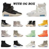 Moda com a caixa 2021 Top Quality Men Medo Deus cordas emitição Sail Basketball Sapatos Tiro em torno de SA Light Bone Sneaker Botas