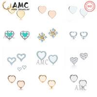 AMC 925 Sterling Silver Clássico Brincos de Amor Forma Stud Fashion Designer Feminino Brinco Atacado Imediatamente Navio