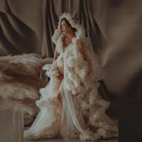Роскошные вечерние платья тюль халат изготовленные на заказ длинные женские женские туль для материнства халаты платья вздохнуты
