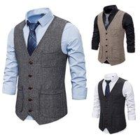2020 Otoño e invierno Nuevo Comercio Exterior al Por Mayor Hombre Hombre Hombre Double Poeta Chaleco de Single Breasted Traje Vest1