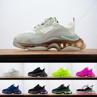 클리어 SOLE 파리 트리플 S 패션 플랫폼 스니커즈 17FW 트리플 베이지 그린 네온 회색 BALCK 화이트 체육관 레드 블루 파티 남성 여성 신발