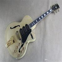 Бесплатная Доставка Пользовательские Ebony Gameboard Золотая аппаратная Джаз Полая Электрическая гитара
