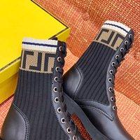 Moda Lüks Bayan Yüksek Çizmeler Mektup Örme Çorap Rahat Çizmeler Yürüyüş Açık Çizmeler Bayanlar Kış Boot