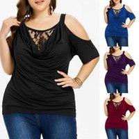 여성용 T 셔츠 대형 3XL-7XL 흉상 128cm 레이스 콜드 어깨 셔츠 솔리드 컬러 캐주얼 라운드 넥 반팔