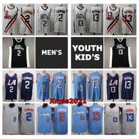 2021 Mens Jugend Kinder Kawhi Leonard 2 Swingman Jersey City Los Angele Edition Nähed Paul 13 George Jugend Basketball Jersey mit Logo Tags