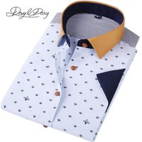 Оптовые- Davydaisy мужчины повседневная рубашка с коротким рукавом 2017 летнее высокое качество моды печатные рубашки мужское платье бренд одежда DS-1331