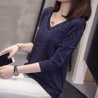 Женские свитеры NKANDBY PLUS Размер многоцветные вязаные пуловеры для женщин 2021 осень зима мода V шеи негабаритные трикотажные вершины Jumpers1