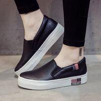 Fashion 2019 autumn white PU leather women&#39s shoes white thick bottom Lok Fu lazy student shoes