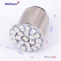 100x 1157 P21 / 4W P21 / 5W 7528 Bay15D 22 3014 SMD 1206 voiture LED Frein Stop Stop Parking Tourner la lumière Automobile Wedge Lampe White Red1