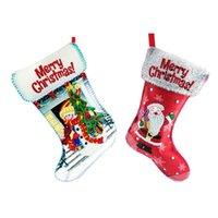 Tarjetas de felicitación Medias de Navidad 5D DIY Diamy Pintura Diamante No tejido Adornos Adornos Árbol Calcetines Colgante Bolsa de regalo de caramelo