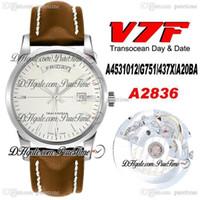 2020 V7F Trapocean Gün Tarihi A4531012 ETA A2836 Otomatik Erkek İzle Gümüş Dial Kahverengi Deri Beyaz Hattı En Iyi Baskı Ptbl Puretime 8AC3