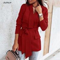 Kadın Takım Elbise Blazers Suit Kadınlar Blazer Giyim Rahat Bayanlar Siyah Sashes Ofis Giymek Sonbahar Kışlık Coats ve Ceketler Temel 2021 Fas