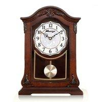 الأوروبي الصلبة الخشب الجدول ساعة غرفة المعيشة الموسيقى الرجعية كتم البندول مكتب خشبي ساعة خمر طاولة كبيرة الحلي هدية 1