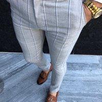 Tepe Erkekler Vintage Ekose Takım Elbise Pantolon Örgün Elbise Pantolon Iş Rahat Ince Pantalon Klasik Çek Takım Pantolon Düğün Parti 201106