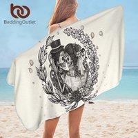 Кнеддингуллет череп пары ванная комната полотенце микрофибры готическое пляжное полотенце свадебное платье прямоугольник йога коврик 75x150см цветочные Toalla 210318
