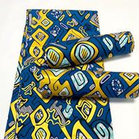 Nuova cera stampata dorata nigeriana 100% stampa africana tessuto di cotone tessuto di cera ankara per abito africano