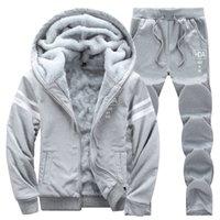 Causal Tracksuits Men Set hooded Thicken Fleece Hoodies + Sweatpant Winter Spring Sweatshirt Sportswear Male Letter Print 201118