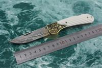 DK093 손으로 만든 다마스커스 블레이드 날카로운 접이식 나이프 구리 + 뼈 손잡이 하이 엔드 컬렉션 접이식 포켓 칼 신사 칼