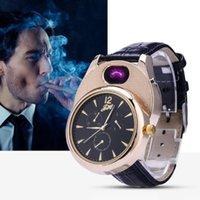 Relógios de pulso relógios homens mais leves casual quartzo relógio arco à prova de vento sem flameless usb carga cigarro relógio homem presentes jh338 1 pcs