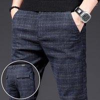 Herrenhose 2021 Frühling Herren Plaid Casual High-End-Marke Koreanischer Stil Trendige Stretchhose Jugendliches Lose Gerade Schlechte Slim Pants1