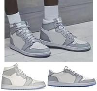 Melhor Qualidade 1 Tênis De Basquete Branco e Cinzento Homens Mulheres 1S Branco Cinza Sports Sneakers Novo com Caixa