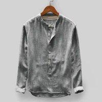 Camicie di lino a maniche lunghe pulsante Su allentate camice degli uomini casuali della moda di New estate Top Taglia L-4XL 5 colori