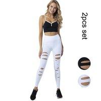 체육관 의류 여성 요가 세트 컬러 블록 브래지어 및 레깅스 섹스 구멍 패션 2PCS 운동 매일 정장