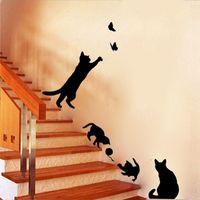 벽 스티커 고양이 플레이 나비 재미 있은 검은 계단 아트 데칼 이동식 DIY 키즈 룸 생활 홈 장식
