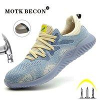 Motk Becon Sapatos de Sapatos para Homens e Mulheres Luminosos Pesos Compostos Dedo Puncure-Proof Trabalho Sapatos Casual Respirável Sneakers 04 Y200915