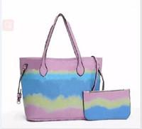 패션 디자이너 Escale 컬렉션 가방 럭셔리 가죽 파스텔 핑크 메신저 가방 2 조각 핸드백 지갑 어깨 가방 45270 2pcs