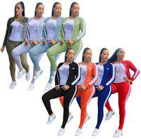Плюс размер 2x Женская осень зимняя одежда трексуиты спортивная одежда с длинным рукавом куртка + толстовка + брюки 3 штуки набор повседневных нарядов 3713