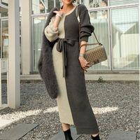 Günlük Elbiseler Kadın Tasarımcılar Giysileri 2021 Sonbahar Kış Örgü Kazak Kazak O-Boyun Colorblock Örme Elbise Gevşek Elastik Ofis Giyim ve