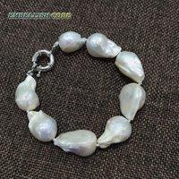 TAMAÑO BLANCO BLANCO TEJIDO Nucleado Forma de flameo nucleado Barroco o Keshi Puertas Pulsera de agua dulce 100% perlas naturales ESPECIAL Y1126