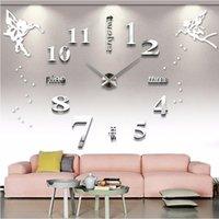 ساعات الحائط كبيرة صامتة الاكريليك الذاتي لاصق diy 3d الرقمية ساعة ملصقا الملاك خطابات الإنجليزية ديكور المنزل الكبير 1