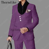 Thorndike Neueste Mantelhose Designs Casual Tuxedo 3 Buttons Purple Tide Street Tragen Best Mann Jacke Hosen Männer Bühnenabendrückkleidung