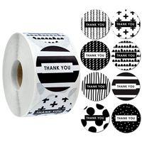 500 pcs 1.5inch obrigado preto selo branco etiqueta adesivos de casamento decoração bolo bolo saco pacote envelope decor