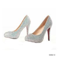 SS002 in magazzino argento Scarpe da sposa lucido Altezza 12 14 16 cm cristalli perline Pompe tacchi alti scarpe da sposa