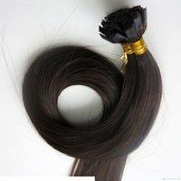 Предварительно связанные плоские наконечники человеческих волос наращивания волос 100 г 100strands 18 20 22 24 дюйма # 2 самые темные коричневые бразильские индийские кератиновые изделия для волос